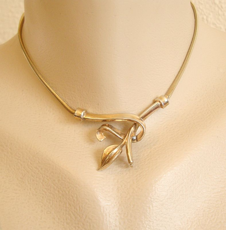 Trifari Art Nouveau Style Necklace Crossed Leaf c1950 Vintage Jewelry