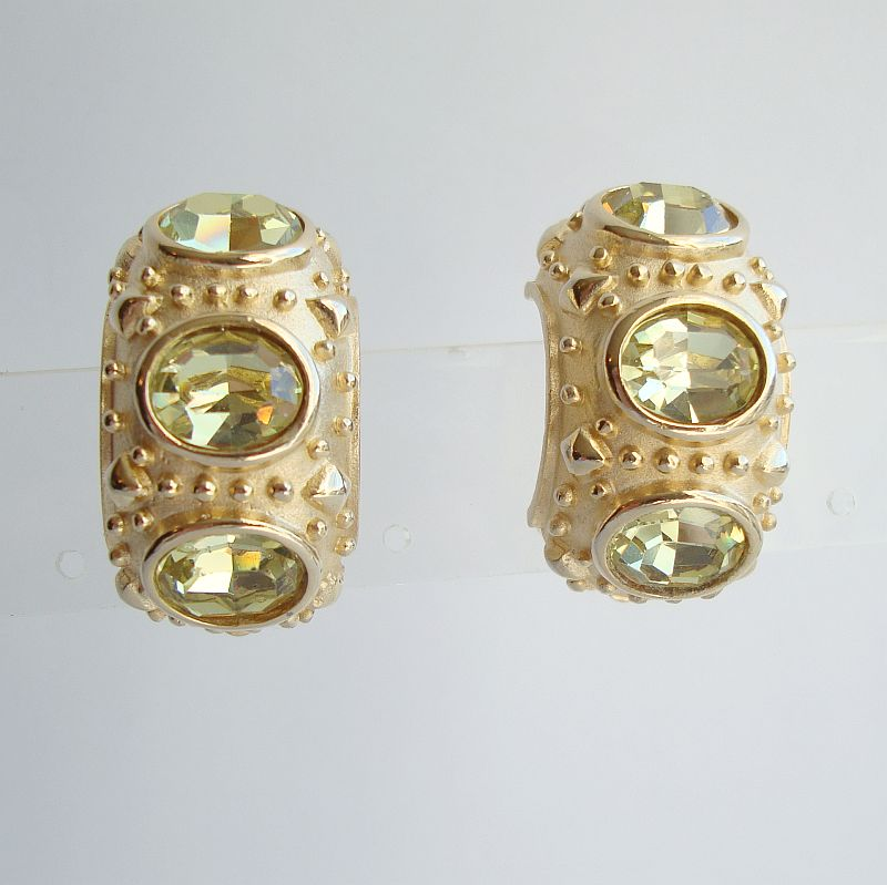 Maresco Light Peridot Huggie Clip On Earrings Fab Designer Jewelry