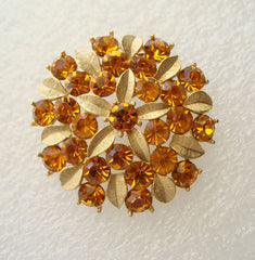 Sarah Coventry AMBER-LITES Floral Brooch 1960s Vintage Rhinestone Jewelry