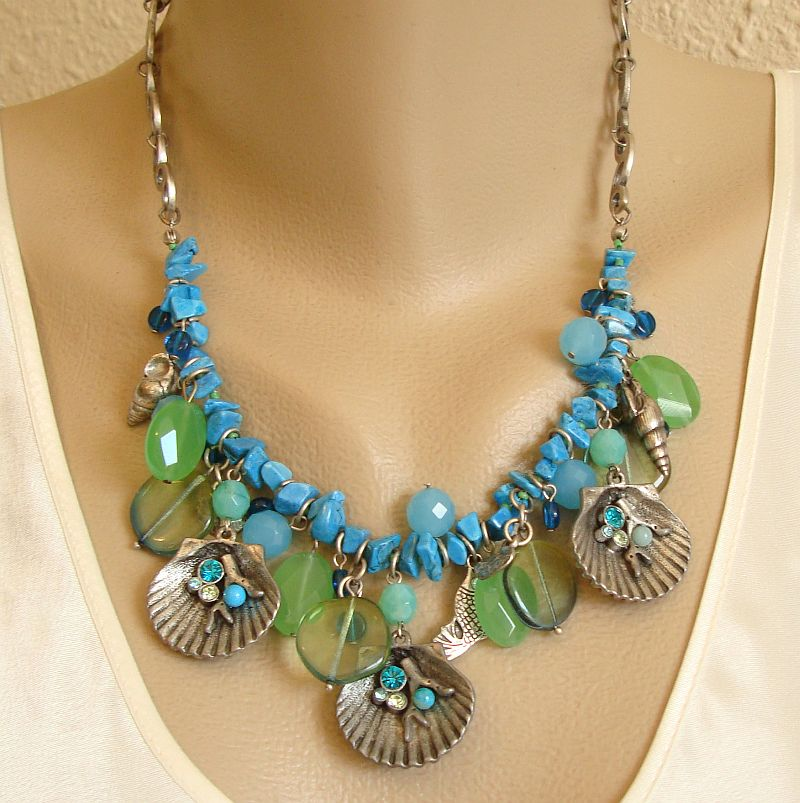 Chico's Seashell Necklace Rhinestones Faux Turquoise Marine Jewelry