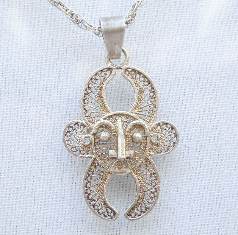 Egyptian or Mayan Filigree Tribal Face Pendant Necklace Figural Jewelry