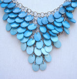 Chico's Blue Turquoise Bib Necklace Woven Silvertone Chain Links