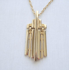 Retro Art Deco Pendant Necklace Goldtone Rectangular Drops Vintage Jewelry