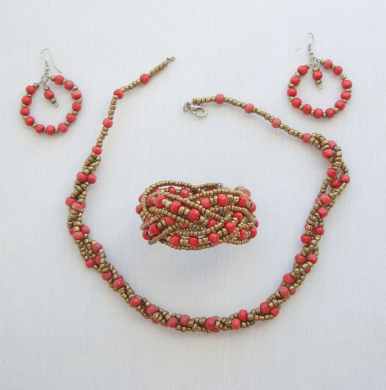 Red Gold Beaded Set Braided Bracelet Necklace Hoop Earrings Colorful Jewelry