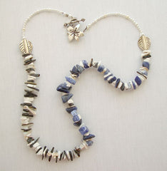 Sodalite White Howlite Necklace Pearls Silvertone Accents Gemstone Jewelry