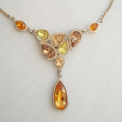 NRT Topaz Peridot Amethyst Rhinestone Drop Necklace Bezel-Set Pear-Shaped Stones
