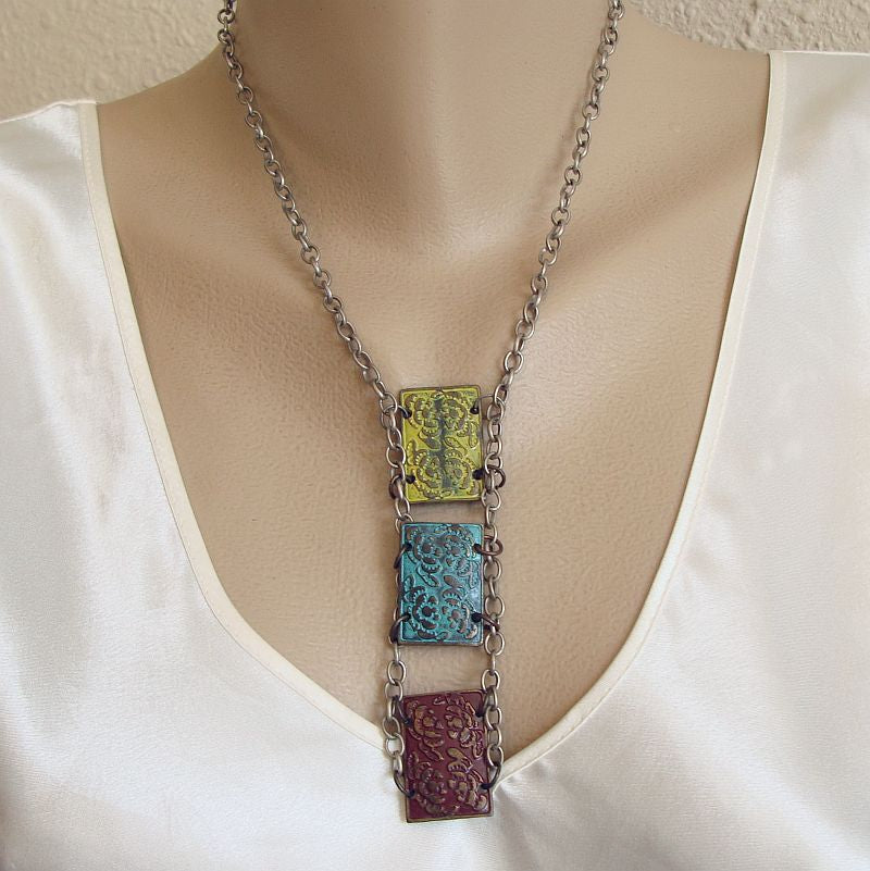 Enameled Embossed Panels Drop Necklace Brown Turquoise Green Vintage Jewelry