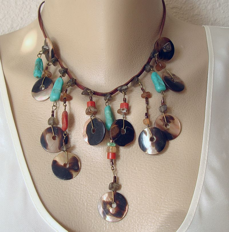Abalone Faux Turquoise Coral Bib Necklace on Leather Strap