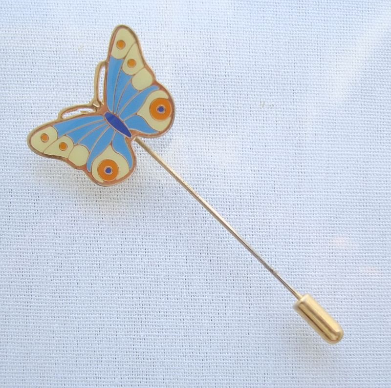 Cloisonné Enamel Butterfly Stick or Hat Pin Colorful Figural Jewelry
