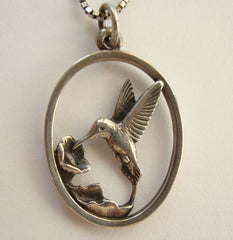 Avery James Sterling Hummingbird Pendant Necklace 30-inch Chain Designer Jewelry