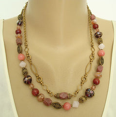 Chico's Two-Strand Gemstone Bead Necklace Antiqued Metal Jewelry