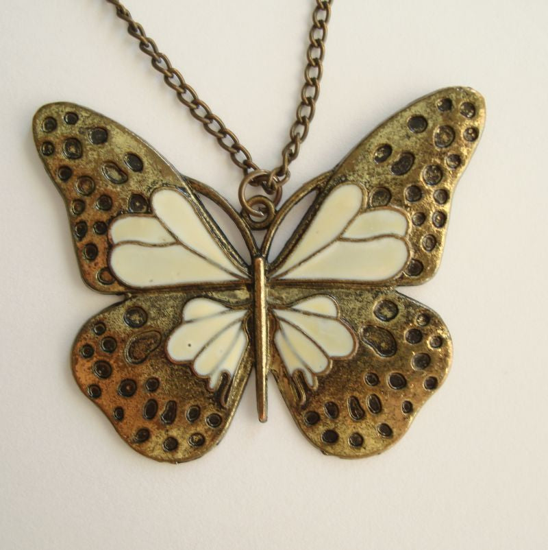 Antiqued Butterfly Pendant Necklace White Enamel Figural Jewelry