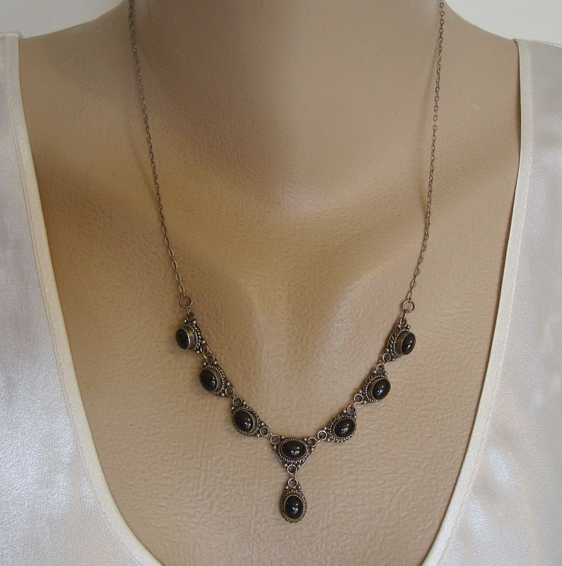 Sterling Silver Obsidian Drop Necklace Probably Mexican Vintage Jewelry