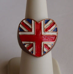 UK Copper Enamel Flag Ring Size 6.5 Heart Shaped United Kingdom Jewelry