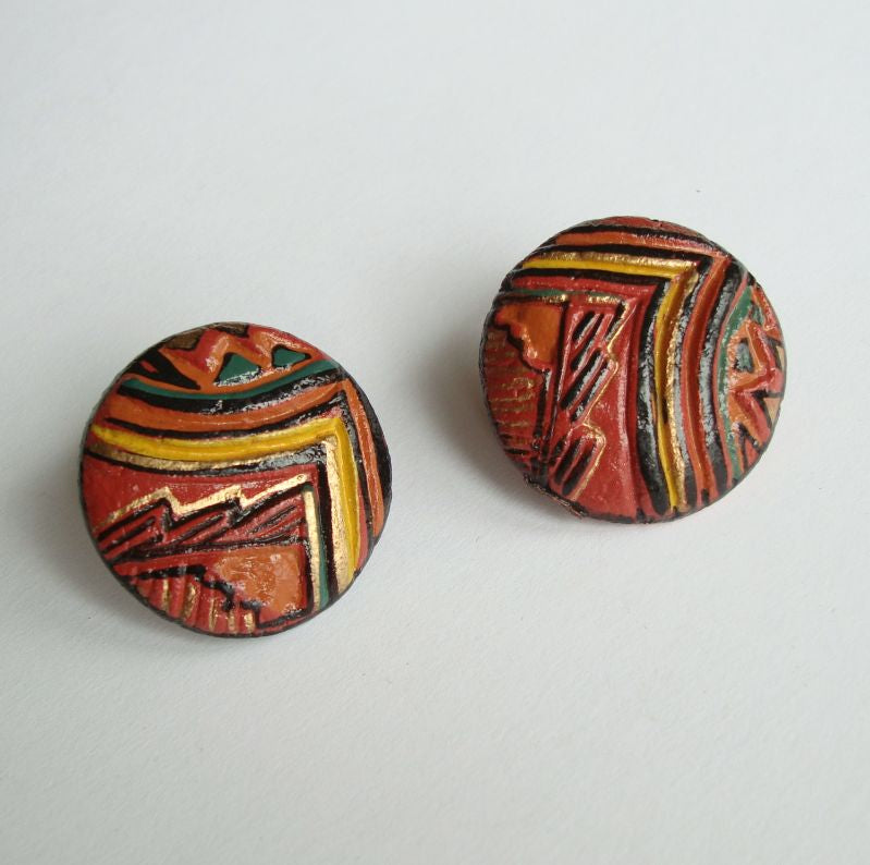 Southwestern Style Clip On Earrings Handpainted Vintage Jewelry