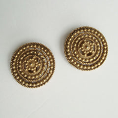 Etruscan Style Large Clip On Earrings with Stars Vintage Jewelry