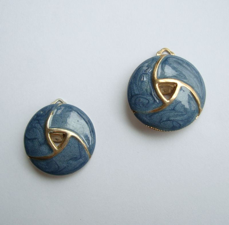 Blue Poured Enamel Swirl Pattern Clip On Earrings Spiral Jewelry