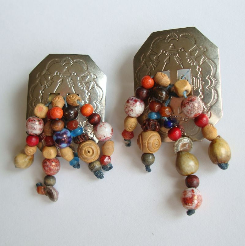 Native American Style Clip Earrings Gemstone Beads Vintage Jewelry