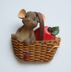 Cute Mouse in Basket Pin Lady Bug Apple Vintage Figural Jewelry