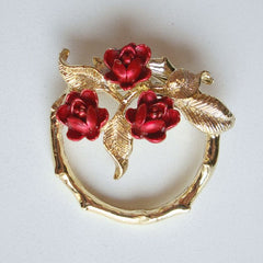 Gerry's Circle Pin Red Enamel Roses Mother's Day Vintage Jewelry