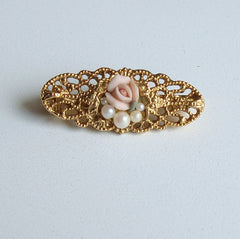 1928 Company Maybe Small Filigree Pin Roses Pearls Vintage Floral Jewelry