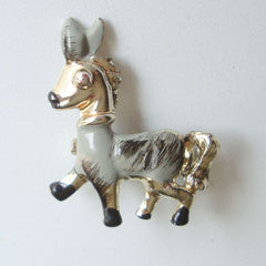 Small Enamel Donkey Jackass Pin Gray Black Vintage Figural Jewelry