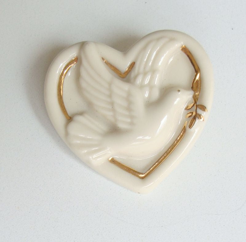 Lenox Dove Heart Pin Ceramic Brooch Gold Enamel Designer Jewelry