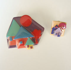 Lucinda House Pins Brooch and Tie Tac Colorful Lucite Jewelry