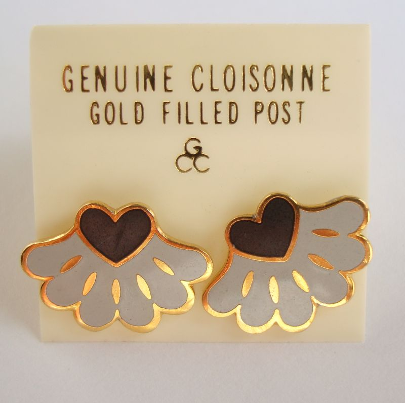 Gray Black Cloissoné Post Earrings On Card Gold Filled Posts Jewelry