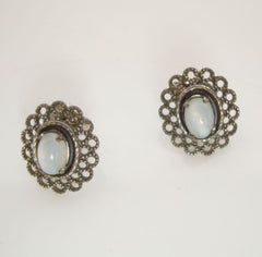 Faux Moonstone Pierced Earrings Petite Openwork Jewelry