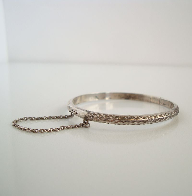 Small Art Deco Sterling Silver Bangle Bracelet Safety Chain Geometric Jewelry