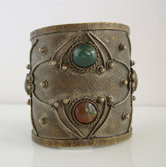 Wide Oxidized Brass Cuff Bracelet Agates Obsidians Gemstones Vintage Jewelry