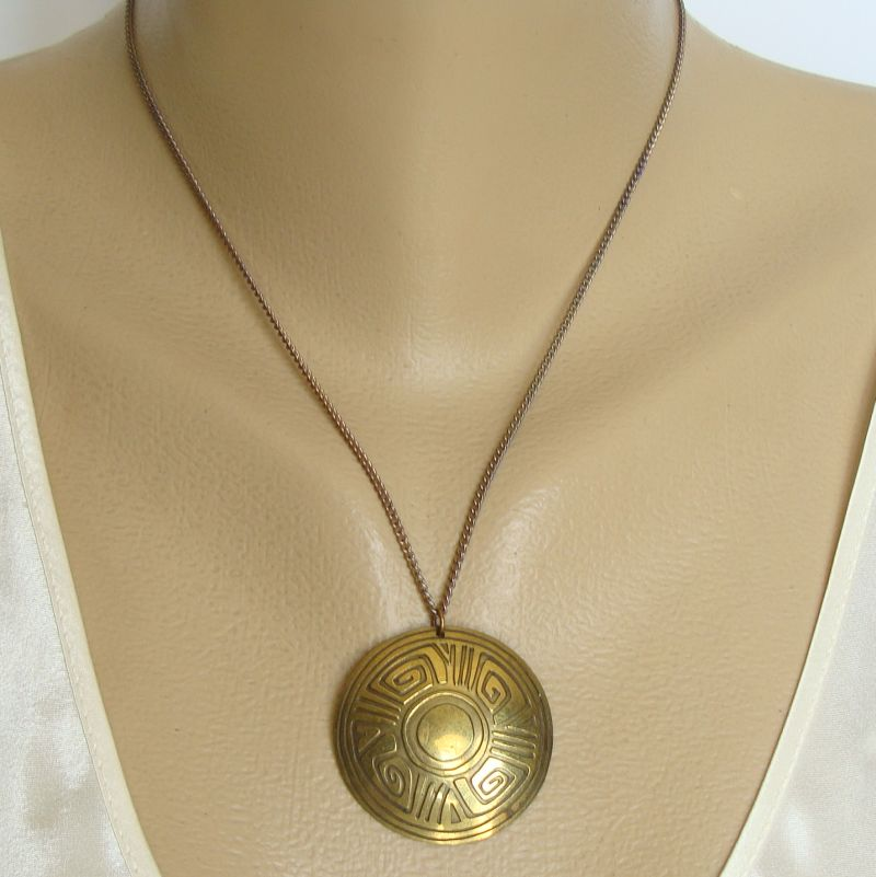 Retro Egyptian Revival Brass Pendant Necklace Vintage Jewelry