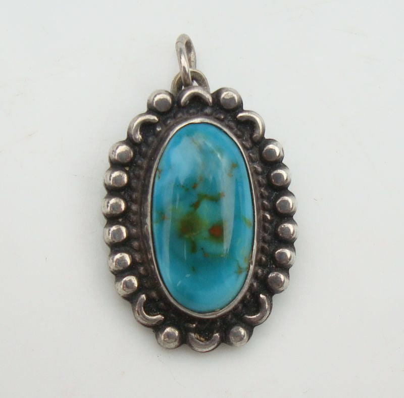 Small Sterling Silver Turquoise Necklace Pendant NA Style Vintage Gemstone Jewelry