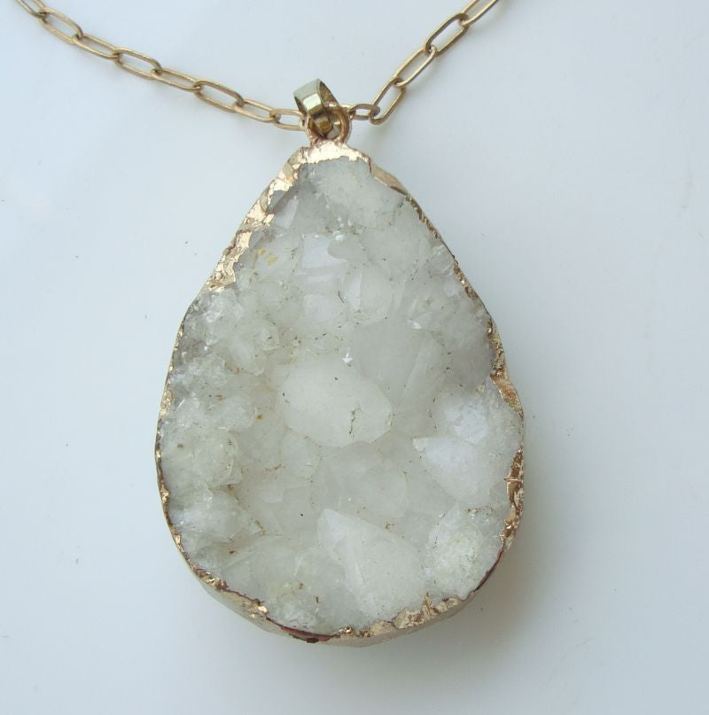 White Drusty Agate Pendant Necklace Gemstone Jewelry