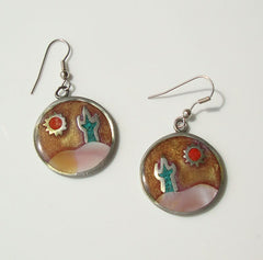 Alia SW Style Earrings Cactus Moon Enamel Vintage 1991 Jewelry