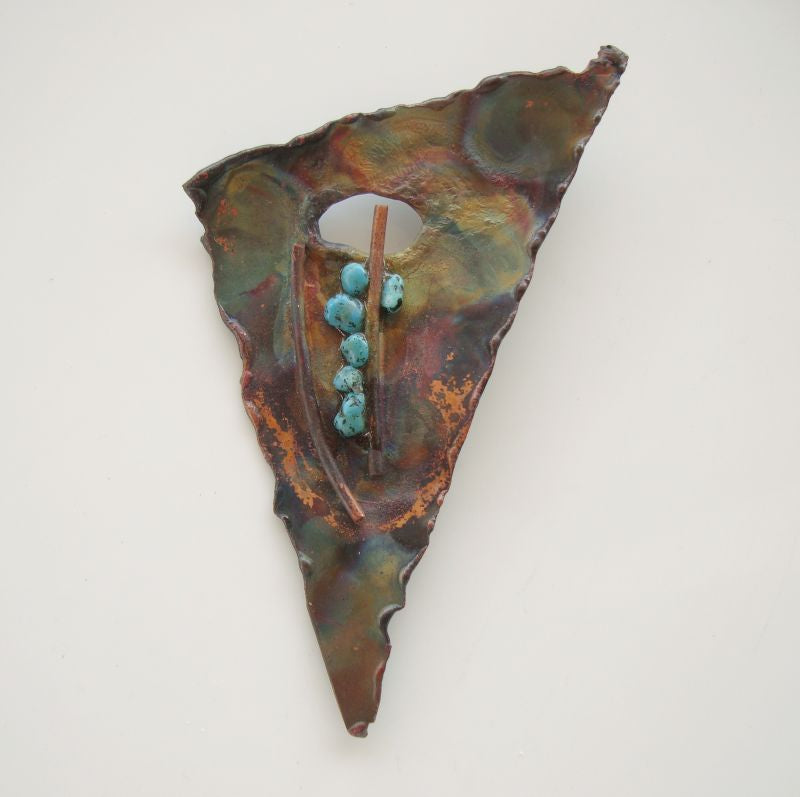 Oxidized Copper Artisan Brooch Pendant Turquoise Accents Abstract Jewelry