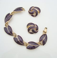 Trifari Dark Purple Enamel Link Bracelet Clip On Earrings Set Vintage Jewelry