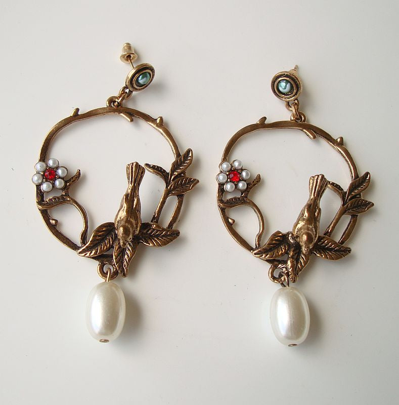 Fun Brass Hoop Earrings Birds Flowers Pearls Figural Jewelry