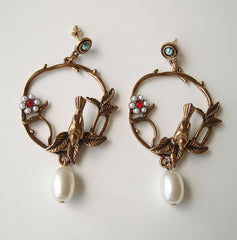 Fun Brass Hoop Earrings Post Style Birds Flowers Pearls Figural Jewelry
