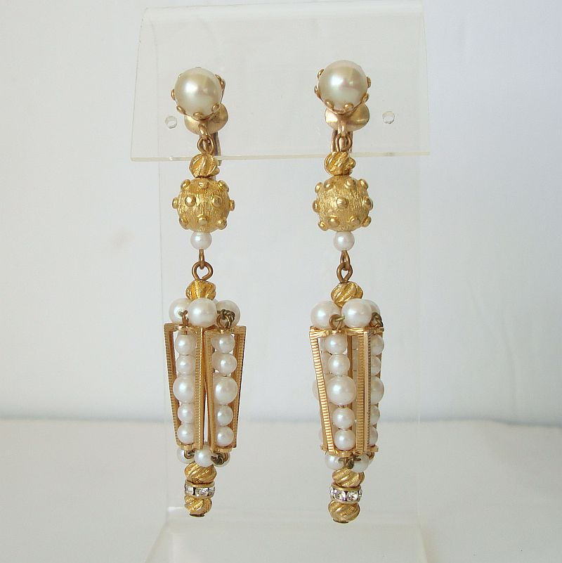 Pearl Clip On Earrings Pagota Spiked Balls Rhinestones Runway Jewelry