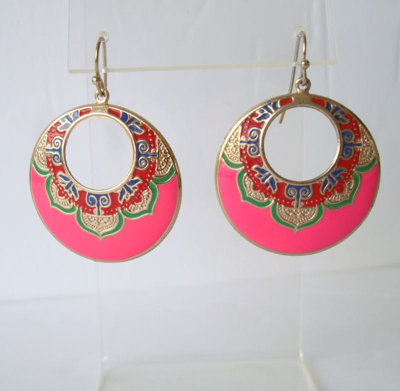 Stamped Cloisonné Egyptian Style Hoop Earrings Pink Green Red Colorful Jewelry