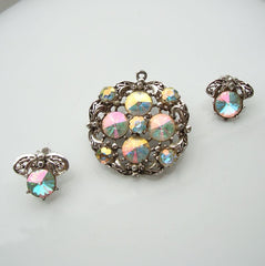 Judy Lee Rivoli Set Brooch Pendant Clip Earrings Vintage Designer Jewelry