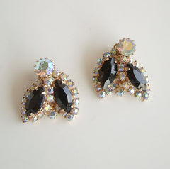 WEISS Clip On Earrings Black Navettes AB Rhinestones vintage Jewelry