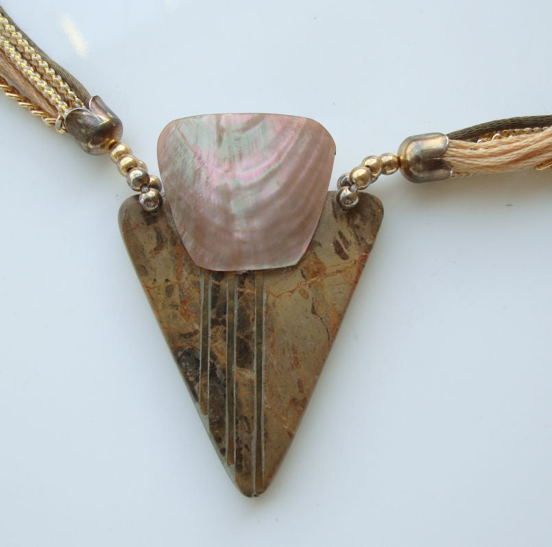 Retro Agate Shell Multi-Strand Necklace Triangular Gemstone Jewelry