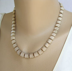 Napier Rectangular Link Necklace Nugget Texture Vintage Jewelry