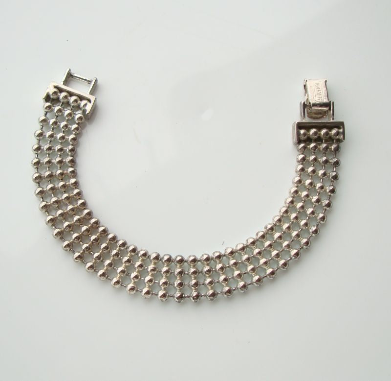 Napier Bracelet Flexible 4-Strand Metal Beads Vintage Jewelry
