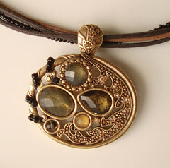 Olive Green Amber Rhinestone Pendant Necklace Openwork Jewelry