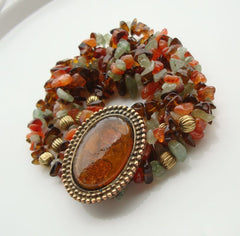 Mixed Gemstone 5-Strand Expansion Bracelet Glass Amber Jewelry