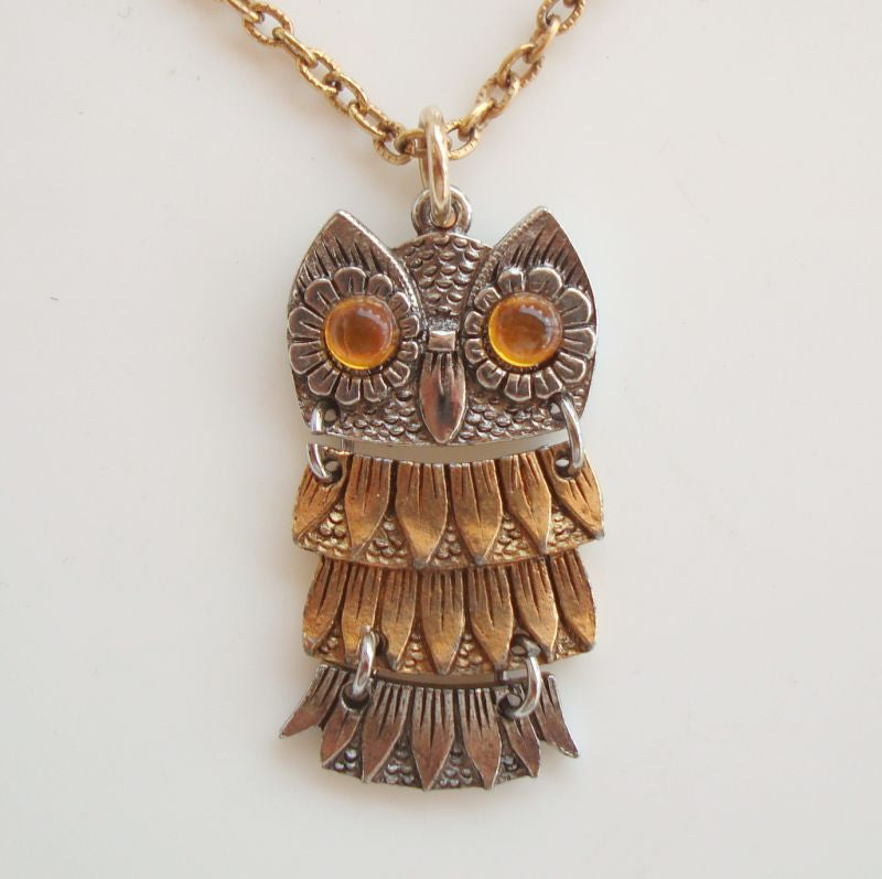 Amber-Eyed Owl Pendant Necklace Articulated Body Bird Figural Jewelry